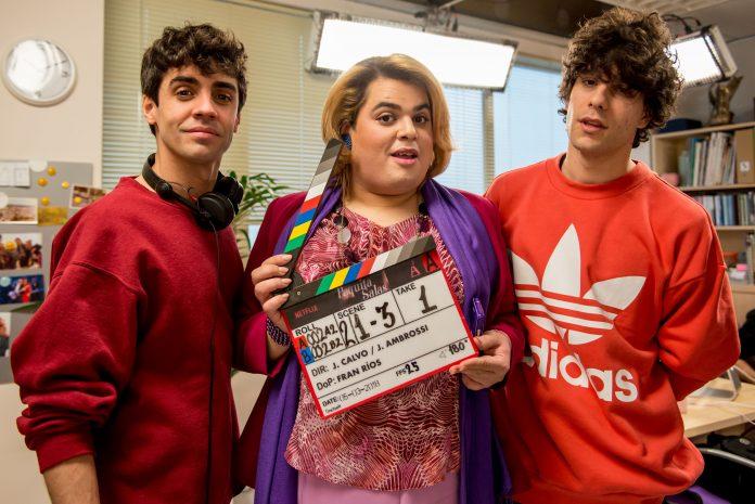 Paquita Salas con Javier Calvo y Ambrossi
